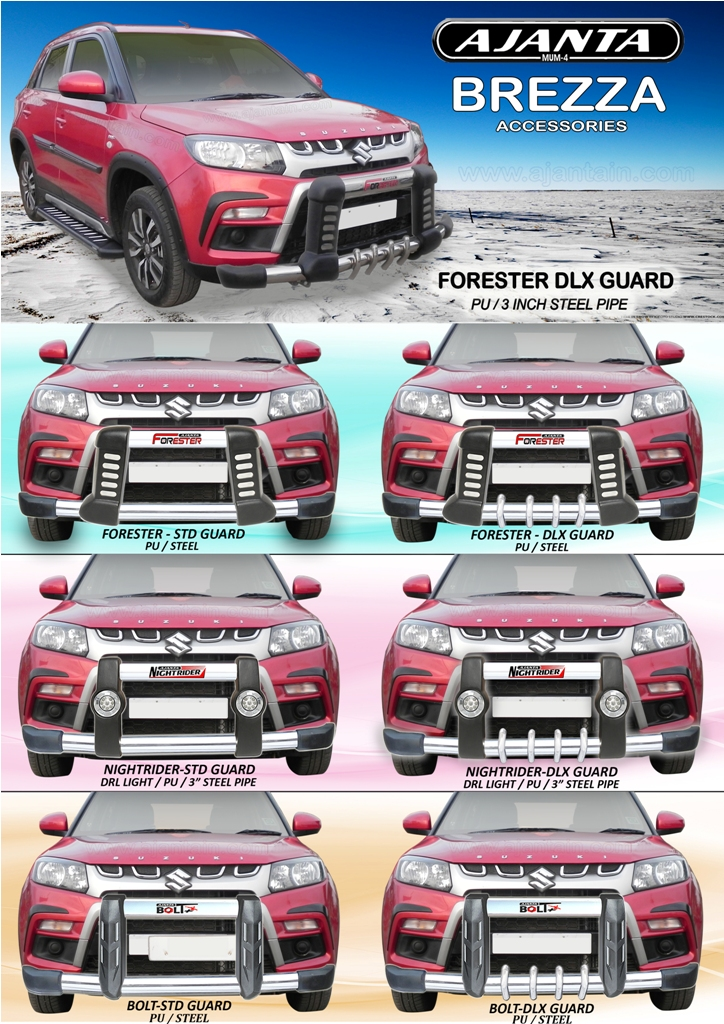 MARUTI BREZZA ACCESSORIES PU FRONT GUARD MANUFACTURE-INDIA-AJANTA GUARD-MUMBAI.