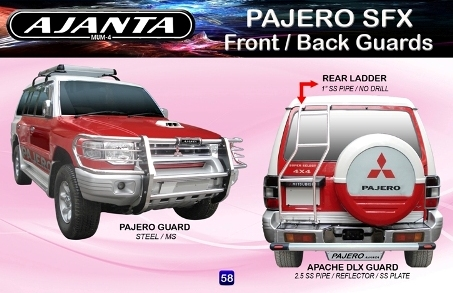 PAJERO SFX FRONT GUARD REAR LADDER ROOF CARRIER BACK STEEL GUARD- AJANTA GUARDS