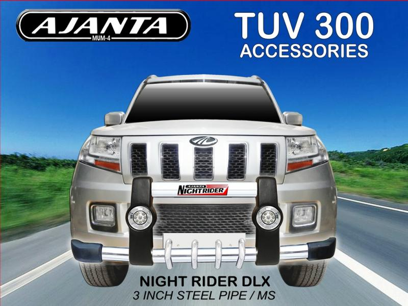 TUV300 FRONT GUARD NIGHTRIDER GUARD PU GUARD WITH DRL LIGHT WITH SS PIPE GUARD